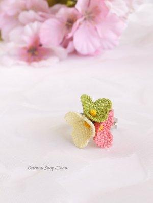 画像1: 一番人気☆シルクイーネオヤ リング|3つ花チューリップ