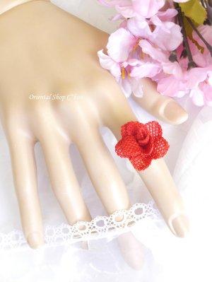 画像2: 一番人気☆シルクイーネオヤ リング 薔薇 トマトレッド