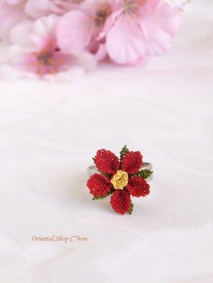 画像1: シルクイーネオヤリング|一輪の花|レッド