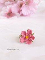 シルクイーネオヤリング|一輪の花|ピンク