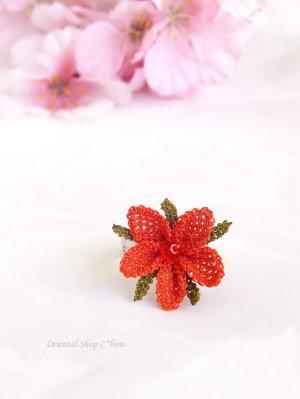 画像1: シルクイーネオヤリング|一輪の花|コーラルレッド