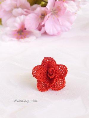 画像1: 一番人気☆シルクイーネオヤ リング 薔薇 トマトレッド