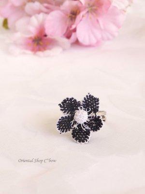 画像1: シルクイーネオヤリング 一輪の花 黒