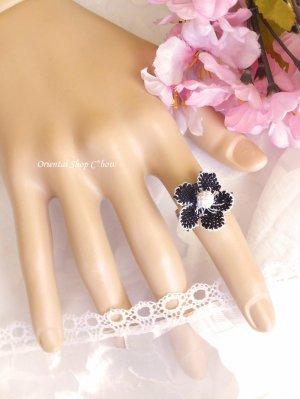 画像2: シルクイーネオヤリング 一輪の花 黒