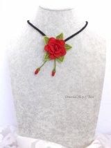 シルクイーネオヤネックレス|一輪の薔薇|レッド