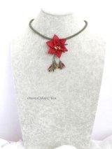 シルクイーネオヤネックレス:蕾付き薔薇|ダークレッド