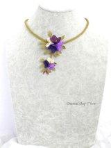 シルクイーネオヤネックレス:4つのお花のブーケ|パープル系