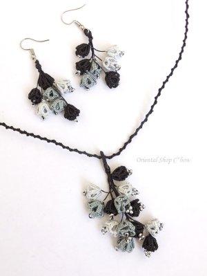 画像1: メキッキオヤネックレス:ゆらゆら小花|ブラック・グレー系