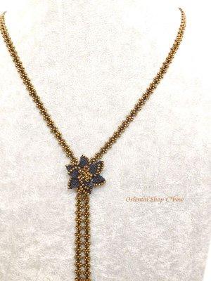 画像4: カッパドキア☆ボンジュックオヤネックレス|Y字・ロングお花ネックレス|ブラック×ブロンズ