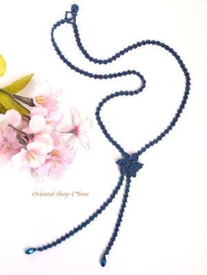 画像1: カッパドキア☆ボンジュックオヤネックレス|Y字・ロングお花ネックレス|ミッドナイトブルー