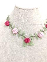 シルクイーネオヤネックレス|紫陽花のようなブルーベリー|ローズレッド&ピンク