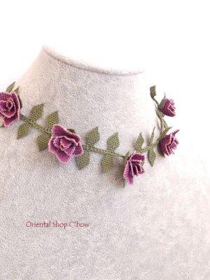 画像4: シルクイーネオヤネックレス 薔薇 ライラック系