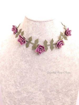 画像1: シルクイーネオヤネックレス 薔薇 ライラック系