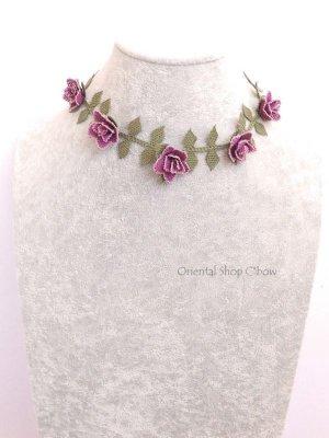 画像2: シルクイーネオヤネックレス 薔薇 ライラック系